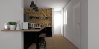 Cuisine Bordelaise en noir laqué : Matériaux naturels: Cuisine de style de style Rustique par Sandia Design