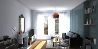 """Espace à vivre """"façon usine des années 70"""": Salon de style de stile Rural par Sandia Design"""