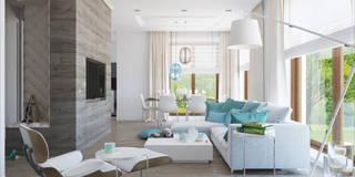 TURQUISE: styl , w kategorii Salon zaprojektowany przez Ludwinowska Studio Architektury