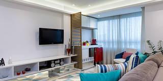Salas de estar ecléticas por Milla Holtz Arquitetura