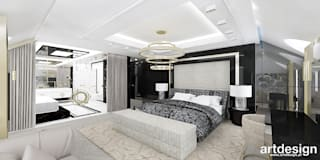 projekt sypialni z łazienką: styl , w kategorii Sypialnia zaprojektowany przez ARTDESIGN architektura wnętrz