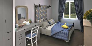 Perspective depuis l'entrée de la chambre: Chambre de style de style Moderne par MJ Intérieurs