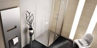 Box doccia battente linea quadro: Bagno in stile in stile Moderno di SILVERPLAT