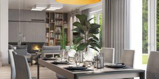 salon z jadalnią: styl , w kategorii Salon zaprojektowany przez MIKOŁAJSKAstudio