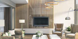 nowoczesny salon: styl , w kategorii Salon zaprojektowany przez MIKOŁAJSKAstudio