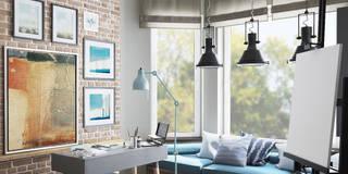 INDUSTRIALNA PRACOWNIA ARTYSTY-WYKUSZ: styl , w kategorii Domowe biuro i gabinet zaprojektowany przez MIKOŁAJSKAstudio