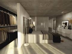 Open Space: Quartos industriais por Santiago   Interior Design Studio