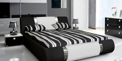 cama de matrimonio de diseo alicante 2 en color negro con blanco de estilo de