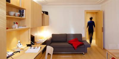 Photo Paul Kozlowski: Salon de style de style Scandinave par Fabienne Bulle architecte & associés