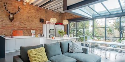 Full House Renovation with Crittall Extension, London: industrial Kitchen by Holland and Green