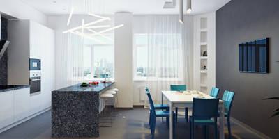 Столовая комната 1й этаж: Столовые комнаты в . Автор – Оксана Мухина
