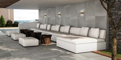 Porcelánicos tamaño XXL: Terrazas de estilo  de INTERAZULEJO