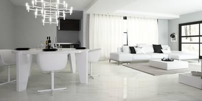 Porcelánico imitación al mármol Calacatta Bianco 80x80: Comedores de estilo minimalista de INTERAZULEJO