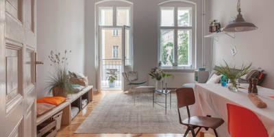 LIVING ROOM: industriale Wohnzimmer von VINTAGENCY