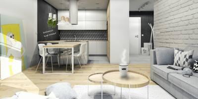 Mieszkanie dla młodej pary,46m2: styl , w kategorii Kuchnia zaprojektowany przez Architekt wnętrz Klaudia Pniak