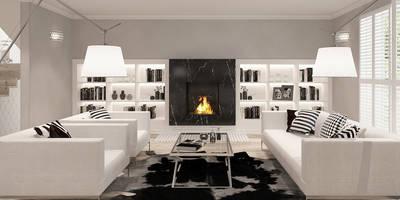 MODERN HAMPTON: styl , w kategorii Salon zaprojektowany przez Ludwinowska Studio Architektury