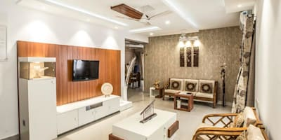 Ezhilagam: modern Living room by Spacestudiochennai