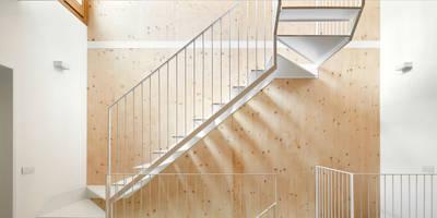 minimalistic Corridor, hallway & stairs by Vallribera Arquitectes