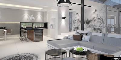Designerski Salon: styl , w kategorii Salon zaprojektowany przez Klaudia Tworo Projektowanie Wnętrz
