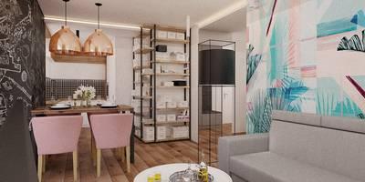 Projekt mieszkania 55m2 w Poznaniu: styl , w kategorii Salon zaprojektowany przez Ale design Grzegorz Grzywacz