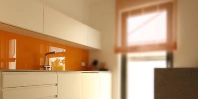 Moderne Küche mit Steinarbeitsplatte und Farbtupfer:   von Beer GmbH