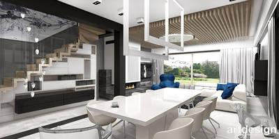 nowoczesna aranżacja jadalni i salonu: styl , w kategorii Jadalnia zaprojektowany przez ARTDESIGN architektura wnętrz