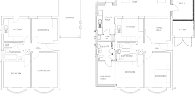 Before & After Floor Plans:   by Jenny McIntee Architectural Design