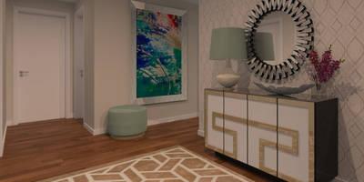 Projeto 3D - Apartamento Montijo: Corredores, halls e escadas modernos por Veludo Vermelho Design de Interiores