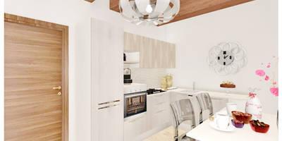 Cucina ad angolo in rovere artico e rovere nordico; Top in quarzo: Cucina in stile in stile Moderno di House Design Arredamenti