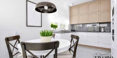 salon z kuchnią w stylu skandynawskim: styl , w kategorii  zaprojektowany przez Klaudia Tworo Projektowanie Wnętrz