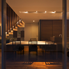 M6-house 「 幾何学の家」 モダンデザインの ダイニング の Architect Show Co.,Ltd モダン