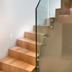 Block staircase - Solid French Oak : modern  by Smet UK - Staircases, Modern