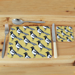 Mischievous Magpie Placemats and Coasters: modern  by martha and hepsie ltd, Modern