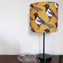 Mischievous Magpie Lampshade: modern  by martha and hepsie ltd, Modern