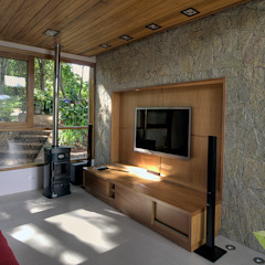 Rustykalny pokój multimedialny od Olaa Arquitetos Rustykalny