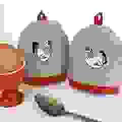 Mr & Mrs Chicken Embroidered Egg Cosies Kate Sproston Design HouseholdTextiles