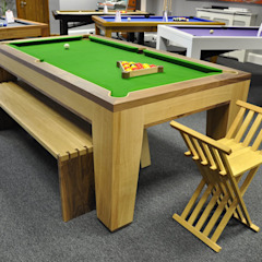 Spartan Pool/Dining Table with Benches and Stool. Designer Billiards Dining roomTables