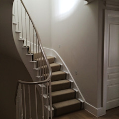 Dents Road, Staircase Classic style corridor, hallway and stairs by BLA Architects Classic