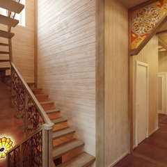 Eclectic style corridor, hallway & stairs by Студия дизайна интерьера 'Золотое сечение' Eclectic Wood Wood effect
