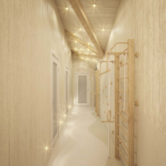 Country style corridor, hallway& stairs by Студия дизайна интерьера 'Золотое сечение' Country Wood Wood effect