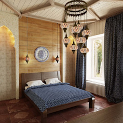 Colonial style bedroom by Студия дизайна интерьера 'Золотое сечение' Colonial Wood Wood effect