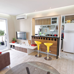 Apartamento Parque Butantã - 50m² Salas multimídia minimalistas por Raphael Civille Arquitetura Minimalista