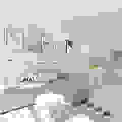 Skandynawskie biele i szarości. Skandynawski salon od 4ma projekt Skandynawski