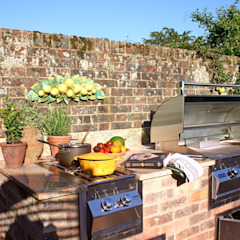 Outdoor Kitchens and BBQ Areas Rustic style garden by Design Outdoors Limited Rustic