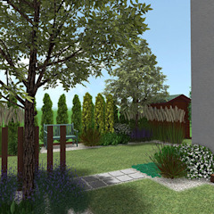 Ogród przy szeregowcu w Dąbrówce koło Poznania od Rock&Flower studio. Pracownia architektury krajobrazu. Nowoczesny