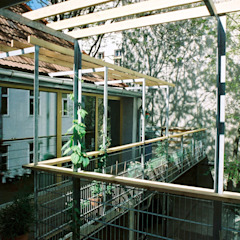 green space—railing and pergola Modern Terrace by allmermacke Modern Wood Wood effect