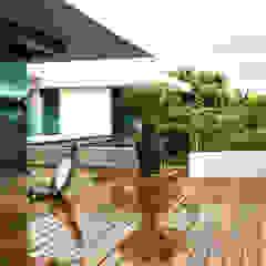 VISTA DE ROOF GARDEN EN RESIDENCIA JC-ROA Balcones y terrazas modernos de AIDA TRACONIS ARQUITECTOS EN MERIDA YUCATAN MEXICO Moderno