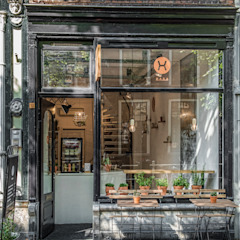 Design Studio Nu Gastronomia in stile industrial Nero
