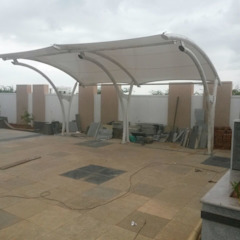 Car Parking Canopy Modern garage/shed by Fabritech India Modern Textile Amber/Gold