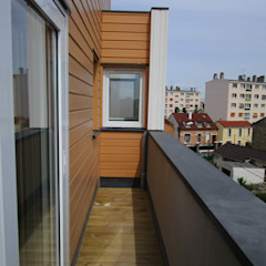 Paula Bianco Modern balcony, veranda & terrace